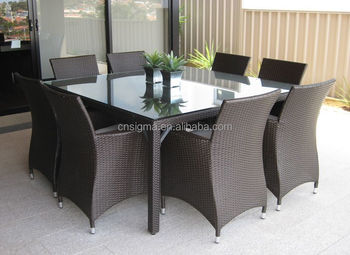 2017 Sigma leisure way weatherproof cheap plastic rattan metal outdoor dining table and chair set