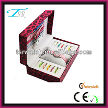 China Supplier cheap watch gift set with colorful changeable straps