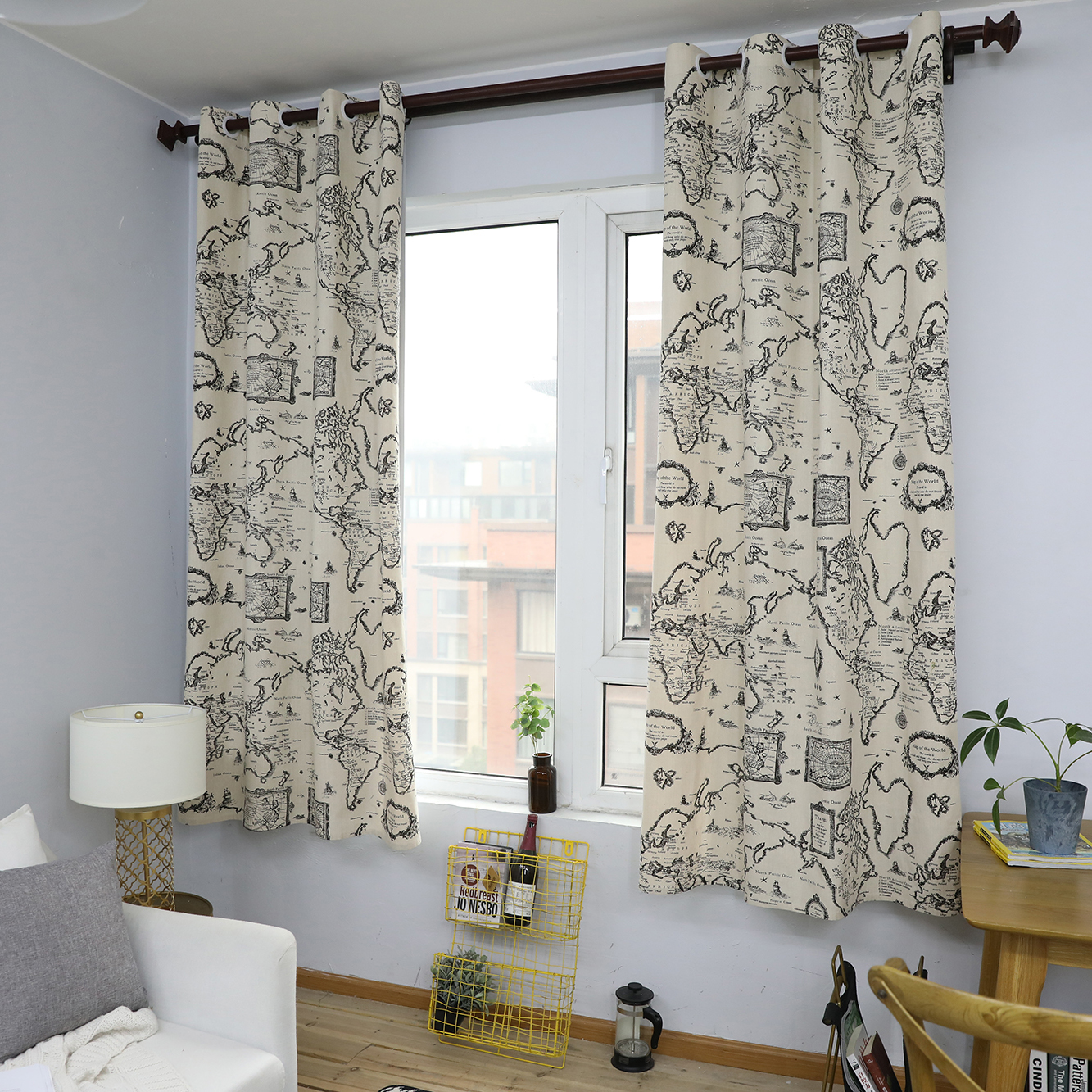 "55*85"" Cotton Map Black Printed Curtain Top Window Curtains Drapes for Bedroom Panel Pair"