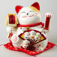 Ceramic Maneki Neko Mascot for Wealth and Luck Home Decoration Factory Outlet