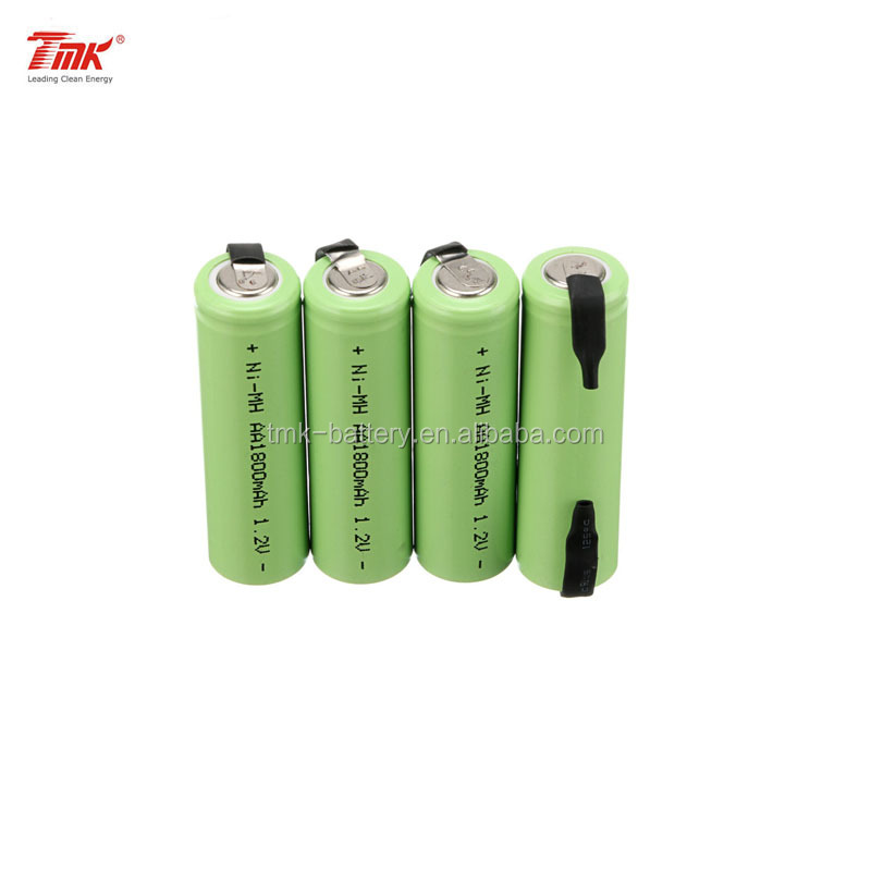 TMK High Rate discharge NiMH 1.2v AA 1800 mAh Electric Shaver Rechargeable Battery With Solder Tabs