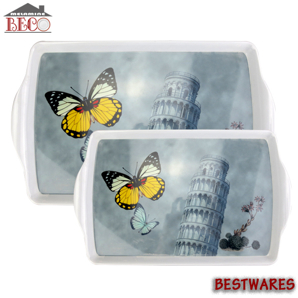 New designs melamine plastic food serving tray