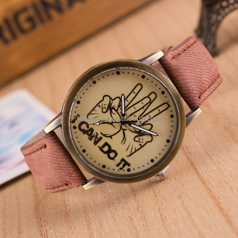 2016 Vintage Fashion watch,i can do it leather watch jewelry