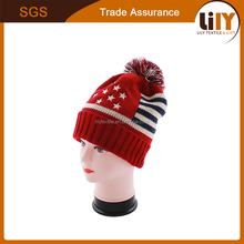 Women/Men's Winter Knitting Hat With Top Pompon USA Flag Double Fabric Warm Beanie