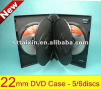 22mm plastic multi dvd box with 2trays for 5discs / 6discs