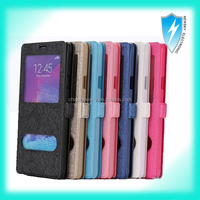 Double Window View Magnetic Flip PC+PU Leather Case for Samsung Galaxy S5 I9600