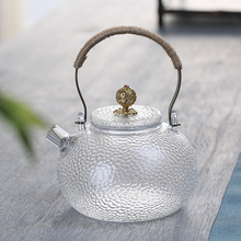 glass jug clear crystal rounded handmade borosilicate glass kettle glass tea pot with handle