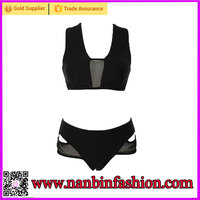 Wholesale fashionable black two pieces sexy women transparent bikini swimwear
