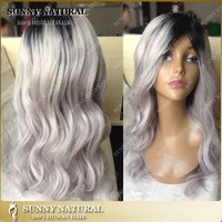 Most popular100% virgin brazilian human hair ombre full lace wig Two tone black/grey ombre wigs for black women