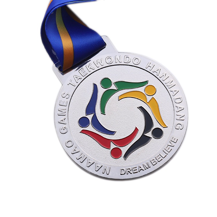 Wholesale cheap Die cut gold silver brass embossed own design custom taewondo medal for sports