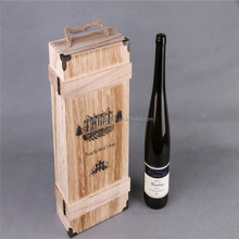 MDF box unfinished wholesale wooden wine box with handle wood craft packaging box with brand name and logo