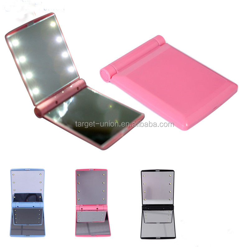 Portable Folding 8 <strong>LED</strong> Lighted 1X 2X Magnification Cosmetic Makeup Mirror