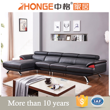 black cow leather 4 seater latest corner modern sofa set living room furniture design