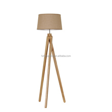 Modern wooden tripod floor standing lava lamp bedroom floor light standard bedside lighting with empire shade