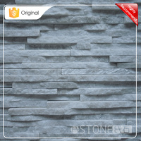 600x150mm Exterior / Interior Wall Decoration White Natural Quartz Slate Wall Cladding