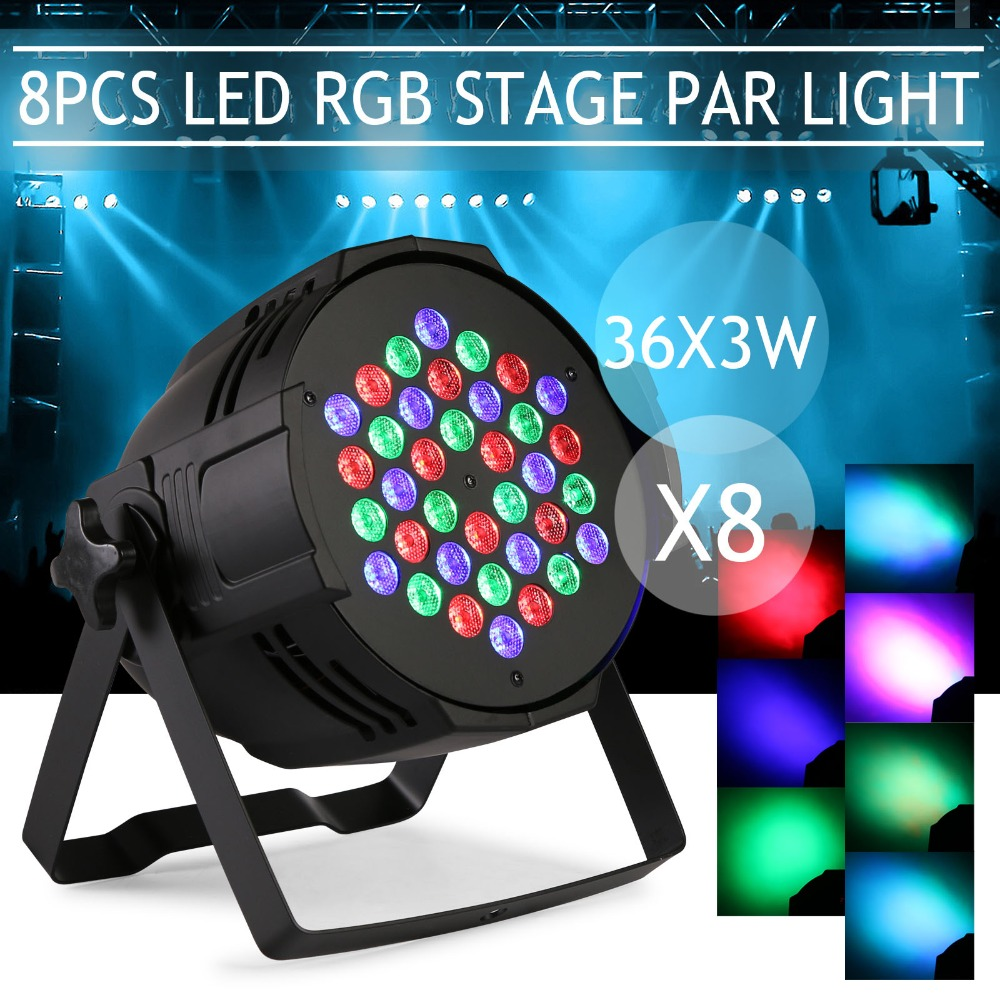 8pcs 36X3W <strong>LED</strong> PAR64 108W Slim Par Can DMX Flat Par Light RGB Color Lighting Projector Party DJ Light