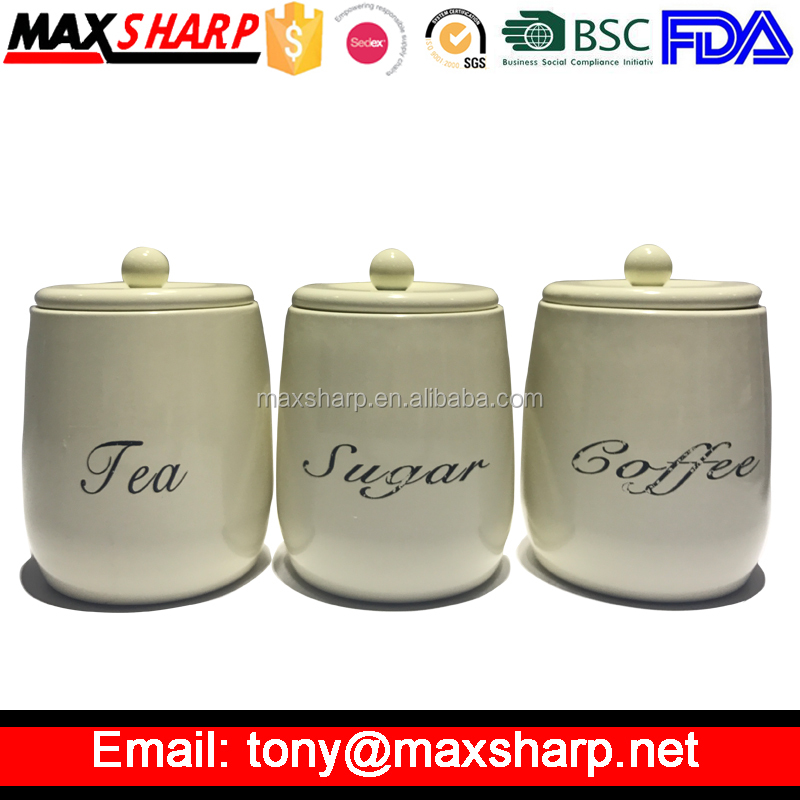 Cream Tea Coffee & Sugar Canister Set with Steel Ball MSC2015