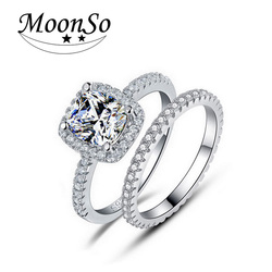 wholesale high quality MOONSO bridal wedding jewelry set 3 carat diamond ring ring prices in pakistan KR1090