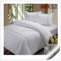 100% Cotton with Embroidery Logo White Plain Fabric Elegant Hotel Bed Linen