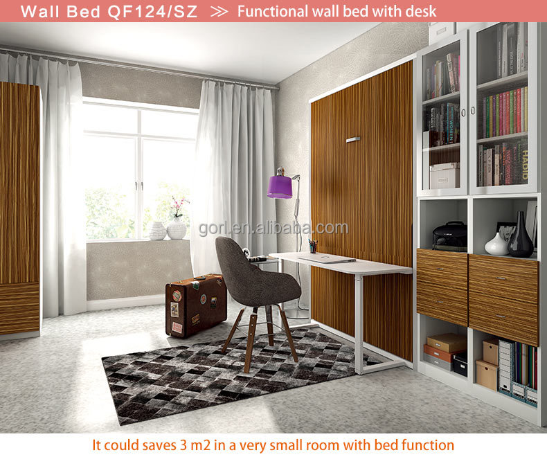 Gorl Furniture wholesale high quality folding wall bed with dining table for saving space,QF124/SZ,QF154/SZ