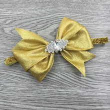shimmer Baby Headbands/Rhinestone Headband with Thick Fold Bow Over Headband