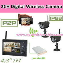 2CH Digital wireless camera dvr with simple installation function