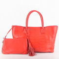 Very stylish soft crocodile belly bags ladies leather shopper handbags Coral