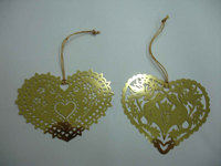 heart shape metal ornament custom made brass ornament