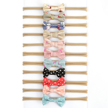 30pcs/lot Mini Bow <strong>Headband</strong> Cute Baby Bow Hair Band Fabric Hair Nylon Baby Queen <strong>Headband</strong>