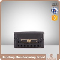 3878 New Design Laser Perforated Body Wholesale 2016 Lady Wallet with Flap and Lock Closure