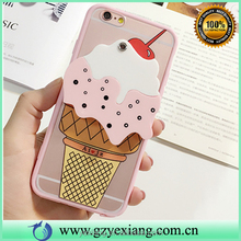 Mobile phone accessories cute 3d ice cream back mirror silicon back cover case for iphone 5 silicon phone case cover
