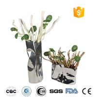 Silver eletronic plated ceramic vase for home decoration