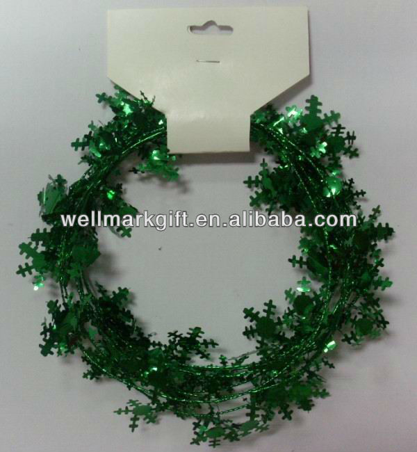 Gold Metallic Foil Shiny Christmas Tree Wire Tinsel Garland