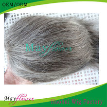 Top quality virgin human hairpieces men's toupee for grey hair men