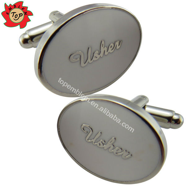 Oval shaped usher custom wedding cufflinks with epoxy