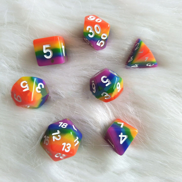 New Dice 7pcs/set Rainbow dice ,d4 d6 d8 <strong>d10</strong> <strong>d10</strong> d12 d20 dnd rpg dice for board game
