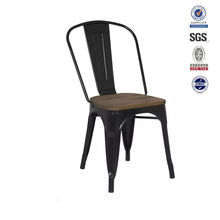 Simple black lacquer metal frame classic wood design dining chair in dining room furniture