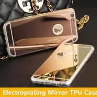 Wholesale Fashion Electroplating Mirror TPU Soft Phone Case Cover for iPhone 5/6/6 Plus