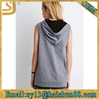 exposed side zippers wholesale blank sleeveless hoodies