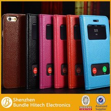 Fashion Dual Window View genuine Leather Case for iPhone 6 4.7 inch