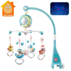 Baby Crib Mobiles Bed Bell Toy Music Projection Box Hanging Rattle Bracket Holder Toys For Newborn Infant 0-12 13-24 Months
