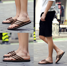 ZY1503A Summer leather sandals man's leather sandals flip-flops