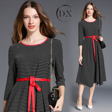 Woman Lady Girl Spring Autumn Winter Fashion Casual Stripe Maxi Long Princess Dress Women