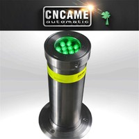 Automatic retractable hydraulic & electric stainless steelrising waring LED light traffic safety bollards