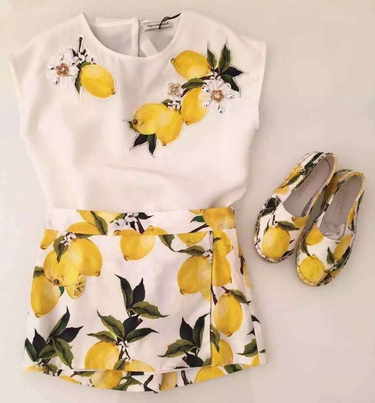 Boutique summer baby girl suit sets lemon flower printed Top t-shirts+pants kids dress children clothing set