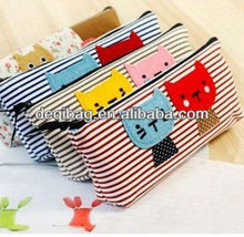 NEW lovely cartoon animal stripe Pencil bag canvas pencil case Pen holder Cosmetic Bag Pouch