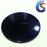 Black blank glazed round ceramic coaster