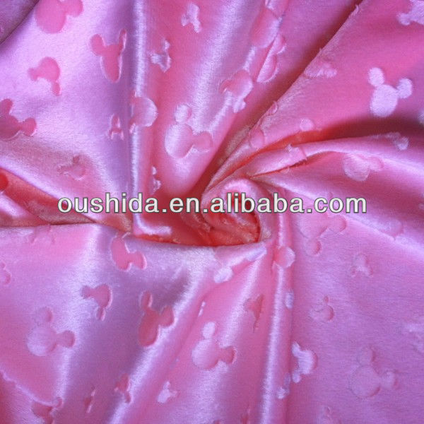 mickey embossing velboa fabric