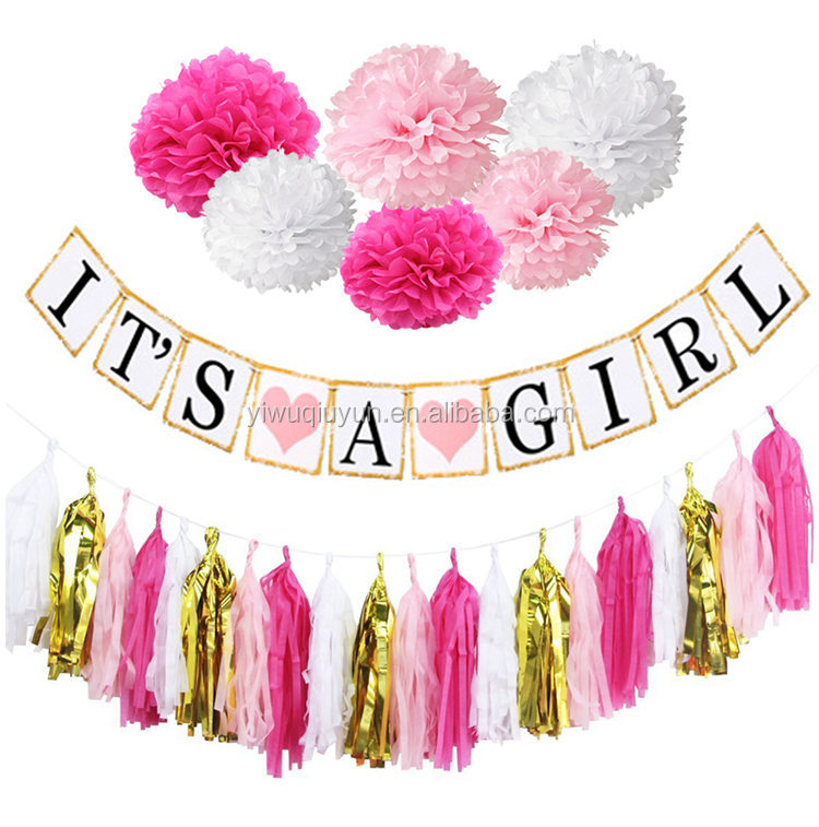 Wholesale Paper Garlands Decoration Its A Girl Bunting Baby Shower Banner