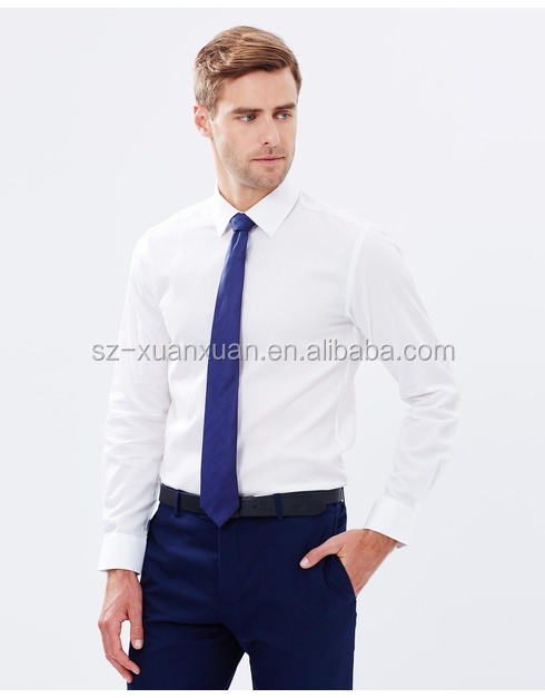Hot selling plain white office business men's uniform shirt with tie